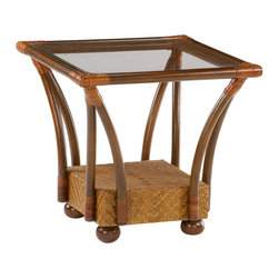 Night & Day Furniture - Night and Day Tulip End Table in Honey Glaze - Our Tulip Tables are our little gems. The curved legs reach out and up, meeting the top frame in superb leather bound corners. These glass top tables are great pairing with all of our Rattan Floral Collection models; but actually you can put them with anything and they'll look great.
