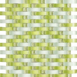Vintrav Lime Green 3D Waves Glass Mosaic Tiles, Sheet - Vintrav Lime Green 3D Waves Glass Mosaic Tiles for Bathroom Floor, Kitchen Backsplash, unmatched quality.