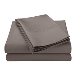 600 Thread Count Queen Sheet Set Solid Cotton Rich - Grey - Our 600 Thread Count Cotton Rich Duvet Cover set is a superior quality blend of 55% Cotton and 45% Polyester making these duvets soft, wrinkle resistant, and easy to care for.