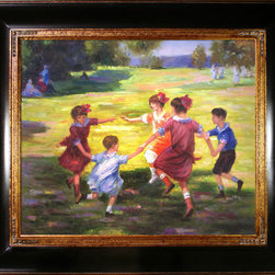 """overstockArt.com - Potthast - Ring Around the Rosie - 20"""" X 24"""" Oil Painting On Canvas Hand painted oil reproduction of a famous Potthast painting, Ring Around the Rosie . This is a remarkable oil painting with exceptional use of color, detail and brush strokes originally created around 1910. Today the painting has been carefully recreated detail-by-detail, color-by-color to near perfection. Edward Potthast was among the best of the American Impressionist painters, popular and successful, who was strongly influenced by French Impressionism. Born on June 10, 1857 in Cincinnati, Ohio his paintings avoid complex emotions and instead depict happy carefree moments. This oil painting shows nature in all her grandure with tall trees and calm waters all the way back to the towering mountains. This painting is sure to bring many admirers."""