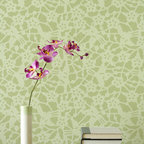 Japanese Birds Allover Wall Stencil - Japanese Birds Allover Wall Stencil from Royal Design Studio Stencils. Use this lovely lacy pattern to stencil your own custom wallpaper look. Stenciling is easy and you can customize with the color of your choice.