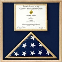 US Marine Corp Flag and Certificate Display Case/ award case - USMC Flag and document diisplay case