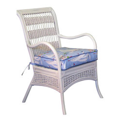 Spice Island Wicker - Casual Dining Chair (White/Off-White) - Made from wicker. White color. 26 in. W x 23.5 in. D x 37.5 in. H (20 lbs.)