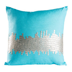 Pyra & Co - Janagali Egg Blue Pillow, 16x16 - Intricately hand-sewn metal tiles in silver against a lipstick-orange linen is reminiscent of the city's ever growing skyline. A soft and enveloping linen allows the intriguing Janagali to transcend both modern and traditional living spaces. Due to the handmade nature of each product, pieces may vary slightly and have imperfections.  These are elements that showcase the true beauty of truly being crafted-by-hand.