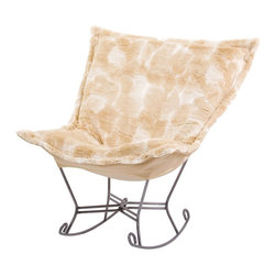 Luscious Natural Scroll Puff Rocker - Titanium Frame - Fashionista! A Coco Puff Chair is a sophisticated mix of texture and color. Like a gorgeous wool coat, this piece will stand out while perfectly complimenting your fashion forward style.