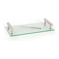 Vintage Chic Home - Contempo Tray & Knife - Serve with in style and transitional grace with the Contempo Tray & Knife. Shining with pared-down elegance, this sleek, stylish and simplified tray boasts a flat pane of glass having raised nickel-plated handles at both the ends. The fork-tipped cheese knife compliments the quiet sheen of the tray's metal hardware. The final outlook amalgamates airy lightness with architectural substance.