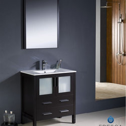 """Fresca - Fresca Torino 30"""" Modern Bathroom Vanity w/ Integrated Sink - Espresso - Fresca is pleased to usher in a new age of customization with the introduction of its Torino line. The frosted glass panels of the doors balance out the sleek and modern lines of Torino, allowing it to fit perfectly in both 'Town' and 'Country' décor.The Fresco Torino bathroom vanity is 30"""" wide and 33.75"""" high, and boasts 18.13"""" deep under-sink storage space – perfect for towels and other bathroom necessities. This bathroom vanity is completed with a 20.75"""" wide x 31.5"""" high x 1.25"""" deep wall mounted mirror for optimal function and style.Items included: Main Vanity Cabinet(s), Countertop(s), Vessel/Integrated Sink(s), Mirror(s), Faucet(s), P-Trap and Pop-Up Drain(s), Standard hardware needed for installation.DecorPlanet is proud to offer Fresca Bathroom products. Fresca is a leading manufacturer of high-quality vanities, accessories, toilets, faucets, and everything else to give you the freshest bathroom in the neighborhood. Fresca is known for carrying the latest and most popular styles in modern and contemporary bathroom design that are made with high quality materials and superior workmanship."""
