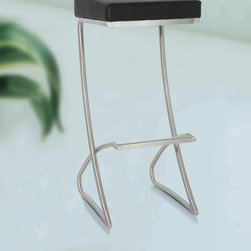 Regina Modern Bar Stool - Inspired by modern Italian design, this piece is a stand out of any space!  Upholstered with synthetic leather available in an assortment of colors, the unique brushed stainless steel base is sure to turn heads!