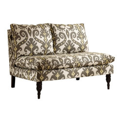 Skyline Furniture - Skyline Pillow Top Settee - Marrakesh Graphite - 5106ESPMRRGRP - Shop for Benches from Hayneedle.com! The Skyline Pillow Top Settee - Marrakesh Graphite lets you add a vibrant splash of style and comfort without adding the visual (or physical) weight of putting another sofa or loveseat in your space. This charming and simple piece is upholstered in high-quality linen fabric that covers thick foam cushioning and a robust wooden frame. Those plump cushions offer luxurious comfort and have a classic touch from the slender turned legs of solid wood.About Skyline Furniture Manufacturing Inc.Skyline Furniture was founded in 1948 with the goal of producing stylish affordable quality furniture for the home. After more than 50 years this family-run business is still designing and manufacturing unique products that meet the ever-changing demands of the modern home furnishing industry. Located in the south suburbs of Chicago the company produces a wide variety of innovative products for the home including chairs headboards benches and coffee tables.