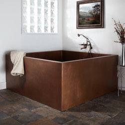 """60"""" Elsinore Double-Wall Square Hammered Copper Soaking Tub - 16 Gauge / Antique - Featuring a hammered, hand-polished copper finish, this spacious corner tub creates a spa-like atmosphere in your own home."""