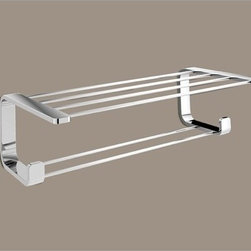 "Contemporary Bathroom Train Rack - Double shelf train rack with robe hooks. Multifunctional shelf, made of brass finished in chrome. Width: 19.69""; Depth: 10.24"""