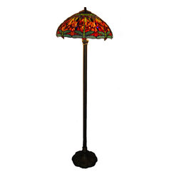 Warehouse of Tiffany - Tiffany-style Dragonfly Floor Lamp - A beautiful Tiffany-style floor lamp is an attractive way to add light to any room of your home, making reading and other tasks much easier. The dragonfly design is whimsical and colorful; the colors blend well with nearly any decor.