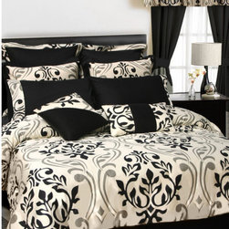 """Tribeca Living - Prague 24 Piece Room in a Bag - A symphony of grey and black scroll pattern on ivory base in this all-cotton sateen weave ensemble brings sophistication and style into your bedroom. Coordinating sheets are in solid black with matching hem treatment. Features: -Available in Full, Queen, King or California King sizes. -Full / Queen set includes 1 oversized comforter, 2 standard shams, 1 bed skirt, 2 European shams, 1 oversize flat sheet, 1 fitted sheet, 2 pillowcases, 2 decorative pillows, 4 window drapes, 4 window panels and 4 tie backs. -King / California King set includes 1 oversized comforter, 2 king shams, 1 bed skirt, 2 European shams, 1 oversize flat sheet, 1 fitted sheet, 2 pillowcases, 2 decorative pillows, 4 window drapes, 4 window panels and 4 tie backs. -Material: 100% Cotton. -350 Thread count. -Remove promptly. -Spot clean decorative pillows. -Extra deep fitted sheets to fit mattresses up to 22"""" deep. -Reverses to 350 thread count solid black offering two different looks in one. -Care instructions: Machine wash cold with like colors, delicate cycle. -Do not bleach and tumble dry low."""