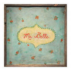 "Kathy Kuo Home - Ma Belle' Turquoise Red Painted Vintage Wall Art - You'll swoon for this sweet, sentimental art piece that proclaims ""My Beautiful"" in French. The flowery print has the feel of vintage fabric, thanks in part to a textural look reproduced from the original work."