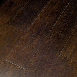 Exotic Locking Bamboo Hardwood Flooring - My future plans include replacing the living room/dining room carpet that flows into the kitchen with hardwood floors — a trick for making a small kitchen appear bigger!