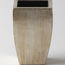 """Horchow - Amenity Cup - Handcrafted via time-honored techniques, this collection features a silver-leaf lacquer finish that's applied by hand to composite wood. Pump dispenser, 3""""Dia. x 7""""T. Soap dish, 6.5"""" x 4""""D x 1.5""""T. Tray, 18""""W x 7.25""""D x 0.75""""T. Wastebasket, 11""""..."""