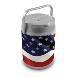 Picnic Time - Can Cooler - American Flag Can - The Can Cooler by Picnic Time is a hard-sided cooler and large beverage can replica that also doubles as a seat. It holds ten 12-oz. cans and has a 9 quart capacity. It features a snugly fitting, fully removable lid and folding handle. Perfect for the beach, patio, tailgating, parties, and sporting events.
