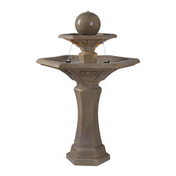 """Kenroy Home - The Provence Three Tier Outdoor Garden Fountain with Lights - The Provence outdoor garden fountain offers a beautiful visual look for your exterior spaces. It features three tiers of cascading water starting with water flowing from a top ball. Two MR 16 lights in the lower basin illuminate the fountain at night. In a Dusty Travertine stone finish. From the Kenroy Home fountain collection. 57"""" high. 38"""" wide.  Provence garden fountain.  Three tiers of water.  Built-in lights.  Pump is included.  Travertine stone finish.   From the Kenroy Home fountain collection.   57"""" high.   38"""" wide."""