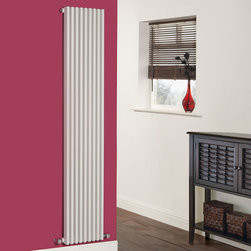 Hudson Reed - White Vertical Parallel Single Panel Designer Radiator 70 x 13.5 - As part of the stunning Parallel range at Hudson Reed, the Sideways Radiator in sleek White is a beautiful addition to a modern interior. With is flat panel design and array of columns this luxury radiator also brings a touch of the traditional to contemporary settings.  As well as looking outstanding, this radiator delivers a fantastic heat output of 1,690 Watts (5,762 BTUs).  The Parallel is compatible with hot water central heating systems and it will plumb directly into your existing pipe work. This product comes complete with modern angled radiator valves, wall mounting brackets and fixing kit.  Luxury White Vertical Designer Radiator 70 x 13.5 Details   Dimensions: (H x W x D) 70 (1780mm) x 13.5 (342mm) x 3.2 (82mm) Output: 1,690 Watts (5,762 BTUs) Max Projection: 4.5 (115mm) Pipe centres with valves (Approx): 17.7 (450mm) Wall to centre of tapping: 2.5 (65mm) Number of columns: 9 - 0.9 (22mm) thickness Fixing Pack Included Designed to be plumbed into your central heating system Suitable for bathroom, cloakroom, kitchen etc. Please note: Modern radiator valves included  Buy now, to transform your bathroom or other living space, at an affordable price. Please Note: Our radiators are designed for forced circulation closed loop systems only. They are not compatible with open loop, gravity hot water or steam systems.