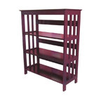 ORE International - 3-Tier Slatted Bookcase in Cherry Finish - Mission bookcase. Open sides and back. Wood legs. Wipe clean with dry cloth. Made from rubber wood. Assembly required. 30 in. W x 12.5 in. D x 36 in. H (28 lbs.)Clean lines and simple, Mission inspired design highlight this bookcase for a timeless look. This bookcase is perfect for a bedroom or home office, wherever you need a favorite book close at hand.