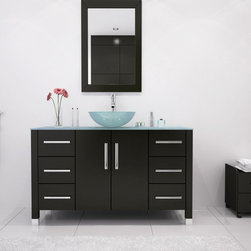 """47"""" Grand Crater Bathroom Vanity With Glass Top - If you like sleek modern designs in your bathroom, then you will love this large bathroom vanity. Constructed in beautiful and sturdy oak, the vanity will last you a lifetime without warping or cracking. The countertop supports an eye-catching glass vessel sink with the matching faucet of your choice, available in a number of unique styles. The vanity sports three sliding drawers on either side, and a primary storage cabinet directly beneath the sink to provide you with ample organizational space. All drawers feature a soft-close system that prevents damage to the vanity. This beautiful modern vanity rests on steel-capped legs that enhance its modern aesthetic, while complementing the matching steel drawer handles. To complete your modern bathroom design, try adding some matching vanity mirrors, available with lovely oak frames."""