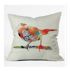 "DENY Designs - Iveta Abolina Little Bird Throw Pillow - Wanna transform a serious room into a fun, inviting space? Looking to complete a room full of solids with a unique print? Need to add a pop of color to your dull, lackluster space? Accomplish all of the above with one simple, yet powerful home accessory we like to call the DENY Throw Pillow! Features: -Iveta Abolina collection. -Material: Woven polyester. -Sealed closure. -Spot treatment with mild detergent. -Made in the USA. -Closure: Concealed zipper with bun insert. -Top and back color: Print. -Small dimensions: 16"" H x 16"" W x 4"" D, 3 lbs. -Medium dimensions: 18"" H x 18"" W x 5"" D, 3 lbs. -Large dimensions: 20"" H x 20 W x 6"" D, 3 lbs."