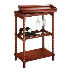 Sterling Industries - Piccadilly Wine Cart - Smart design and charm are combined for this practical, fashionable and functional wine cart. Finished in natural cherry tones.
