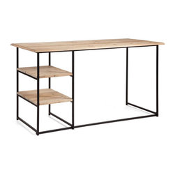Industrial Task Desk - A vintage-inspired piece that is sure to last a lifetime. We like its raw metal legs and the rustic natural wood top. Opening shelving makes everything easily accessible.