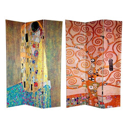 """Oriental Furniture - 6 ft. Tall Double Sided Works of Klimt Room Divider - The Kiss/Tree of Life - This screen features two works from the world's most famous bohemian. Gustav Klimt is revered by many as the most important of the """"post-impressionist"""" painters. These prints are considered to be two of his most beautiful pieces of fine art. Ripe with symbolism, the center section of the  Tree of Life, circa 1909 , is the front image. On the back is the equally powerful,  The Kiss, circa 1907-1908 . Both sides are fine quality reproductions of two of Klimt's most engaging and compelling artistic masterpieces. This three panel screen has different images on each side, as shown."""