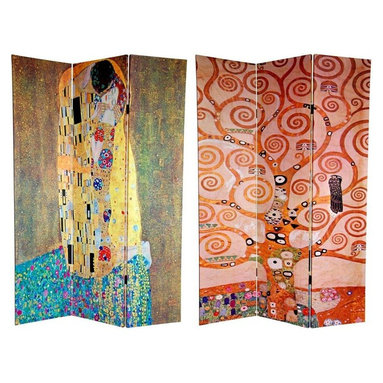 """Oriental Furniture - 6 ft. Tall Double Sided Works of Klimt Room Divider - the Kiss/Tree of Life - This screen features two works from the world's most famous bohemian. Gustav Klimt is revered by many as the most important of the """"post-impressionist"""" painters. These prints are considered to be two of his most beautiful pieces of fine art. Ripe with symbolism, the center section of the Tree of Life, circa 1909, is the front image. On the back is the equally powerful, The Kiss, circa 1907-1908. Both sides are fine quality reproductions of two of Klimt's most engaging and compelling artistic masterpieces. This three panel screen has different images on each side, as shown."""