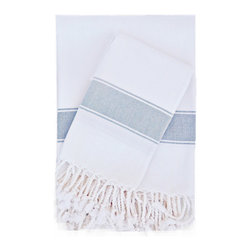 Turkish-T - Super Soft Bath Towel with Fringe,  White/Gray - This Turkish bath towel is made from 100 percent long cotton staple fibers, so it's supple to the touch and becomes even softer with repeated use. The durable, flat-woven design maintains its shape, and is available in a selection of soft, breezy colors — each finished with fringe to add Mediterranean allure to the bath, pool or spa.