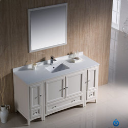 """Fresca - Fresca Oxford 60"""" Traditional Single Sink Vanity Set w/ 2 Side Cabinets - Blending clean lines with classic wood, the Fresca Oxford Traditional Bathroom Vanity is a must-have for modern and traditional bathrooms alike. The vanity frame itself features solid wood in a stunning mahogany finish that's sure to stand out in any bathroom and match all interiors. Available in many different finishes and configurations."""