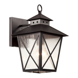 Trans Globe Lighting - Black Chimney Vented 13-Inch Wall Lantern with Clear Seeded, Square, Cross Bar - - Cupola vented roof with cross bar frame and top ring. Clear seeded glass. Weather resistant cast aluminum. Square wall plate. Bulb access at bottom.  - 1 Light Wall Lantern  - Weather resistant cast aluminum  - Square wall plate adds ranch house appeal  - Cris-cross frame protects glass from breakage  - Open at bottom for easy bulb replacement  - American farmhouse outdoor light fixture collection  - Material; Cast Aluminum, Glass  - Bulbs not included Trans Globe Lighting - 40171 BK