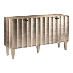 """Inviting Home - Fluted Cabinet - Rectangular fluted cabinet with antiqued crackled silver finish four doors and one shelf inside; 64""""W x 16""""D x 36 H Hand-crafted fluted front cabinet. This cabinet has antique crackled silver finish fluted front four doors and 2 shelves inside."""