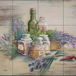 The Tile Mural Store (USA) - Tile Mural - Spicy - Rb - Kitchen Backsplash Ideas - This beautiful artwork by Rita Broughton has been digitally reproduced for tiles and depicts spice jars and herb sprigs  Our kitchen tile murals are perfect to use as part of your kitchen backsplash tile project. Add interest to your kitchen backsplash wall with a decorative tile mural. If you are remodeling your kitchen or building a new home, install a tile mural above your stove top or install a tile mural above your sink. Adding a decorative tile mural to your backsplash is a wonderful idea and will liven up the space behind your cooktop or sink.