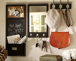 Daily System, Black - This great organization system comes complete with a chalkboard and lots of hooks.