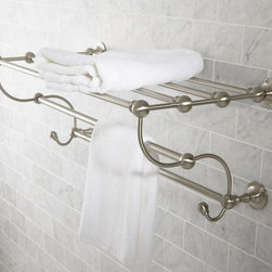 Sussex Train Rack, Satin Nickel Finish - When preparing for guests, it's great to think about the logistics of things, and take a nod from hotels. Installing a wide towel rack in a powder room is an attractive (and practical) way to store your fluffy white towels.