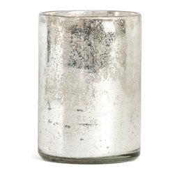 Saro - Glass Octagon Hurricane, Silver - Illuminate the table and make your next soiree sparkle.