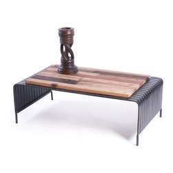 "Go Home - Natural Finish ""U"" Coffee Table - Stylish ""U"" Coffee Table a piece that will add charm to many decor themes with the rich history this unique accent piece brings to life.It has u shape its frame is made with iron and its top is with wood.Natural finish give gorgeous look. Accessories not included."