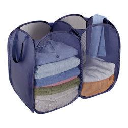 StorageIdeas - StorageIdeas Foldable Pop-Up Mesh Hamper, 2-compartment Clothes Laundry Hamper - Features: