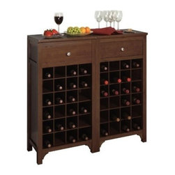 Winsome Wood - Modular Wine Cabinet - Our Wine Modular Cabinet features a capacity to hold 24 bottles and a drawer for accessories. It is space saving and will suits to any of your home corner.