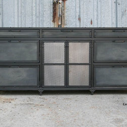 Vintage Industrial File Cabinet. Mid Century Modern. Steel and reclaimed wood -