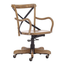 Union Square Antique Natural Office Chair - This Union Square Antique Natural Office Chair is Modeled after the most popular café chair in Europe and represent the chic Industrial Era. Our versatile X-back office chair comes in natural, antique black, and antique white. Frame is solid wood with distressed antique metal accents.