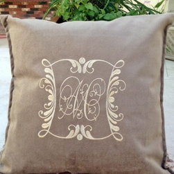 Velvety Taupe Throw Pillow with Down/Feather Blend Insert Included - USA Made-