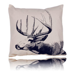 Eric & Christopher - buck pillow (22x22) - Screen-printed by hand on natural canvas, these pillows are a collaboration of Eric and Christopher who take pictures of animals on Eric's farm, Christopher photo shops the images and silk screens them by hand. Eric cuts and sews, creating a totally charming and unique pillow with a modern country feel.