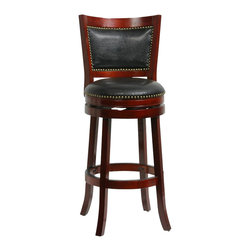 "Boraam - Boraam 29"" Bristol Swivel Stool in Cherry - Boraam - Bar Stools - 42929 - The Bristol Swivel Counter Stool by Boraam Industries is composed of solid hardwood and engineered to perfection. The seat and back of this counter chair are padded with high density foam and upholstered in bonded leather with decorative nail head trim. Each leg of this pub height chair has a strategic flare design that provides durability and balance to those who sit. Additionally the steel swivel plate features full ball bearing designs for an effortless 360-degree turn! A metal kick plate over the entire footrest protects against scuffs."