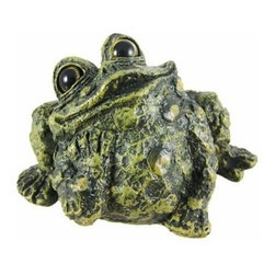 Toad Hollow Daydreaming Frog Statue Figure - The Toads Of Toad Hollow are a collection of statues that add whimsy and imagination to your home. This daydreaming toad looks like he`s thinking about being kissed by a princess.  Made of cold cast resin, the toad measures 4 inches tall, 7 inches wide and 4 1/2 inches deep. He`s hand-painted, and shows great detail. He makes a wonderful gift for any frog lover.