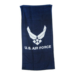 Zeckos - United States Air Force Blue Beach Towel 60 Inches x 30 Inches USAF - This navy blue terrycloth beach towel features the logo of the United States Air Force. The towel measures 60 inches long, 30 inches wide, with sewn edges to prevent fraying. It makes a great gift for those currently serving and veterans of the Air Force.