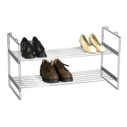 Household Essentials - Stackable Shoe Shelf, Chrome - Keep your shoes neatly in line with our durable Stackable Shoe Shelf. Made of durable chrome-plated steel, this sturdy rack is ready to take a stand.