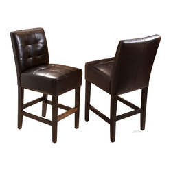 Great Deal Furniture - Bronson Black Leather Counter Stools (set of 2) - Add comfort to your home with our Bronson Leather Counter Stool. With its soft black bonded leather and well padded seat, this furniture makes an ideal seat for any get together. Built from solid hardwood with black stained legs, our Bronson counter stool is build to last for years to come.
